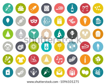 vector celebration birthday party Icons - event happy birthday party