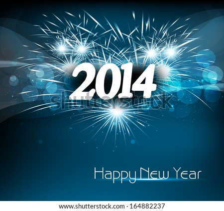Vector celebration colorful happy new year 2014 background
