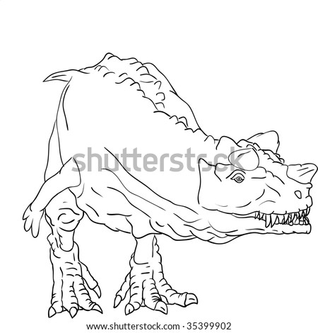 vector - Ceratosaurus attacking - isolated on background