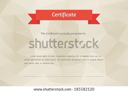 Vector certificate background. Modern flat style