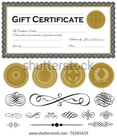 Vector certificate frame and set of vector ornaments Easy to edit.