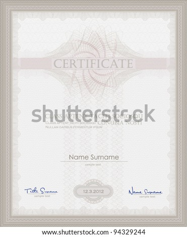 vector Certificate Guilloche template security