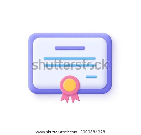 Vector certificate icon. Achievement, award, grant, diploma concepts. 3d vector illustration.