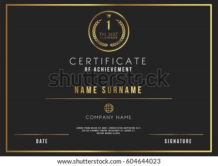 Vector Certificate Template Design with Luxury Best Company Award #604644023