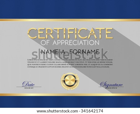 Vector Certificate Template Of Appreciation Blue - 341642174