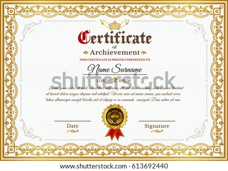 Golden certificate template design vector download free vector art vector certificate template on awarding design of certificate with golden vintage ornament on the contour yadclub Gallery
