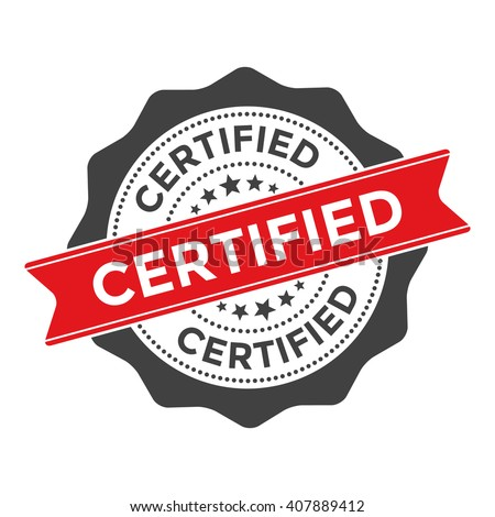 Vector Certified Badge with Red Ribbon