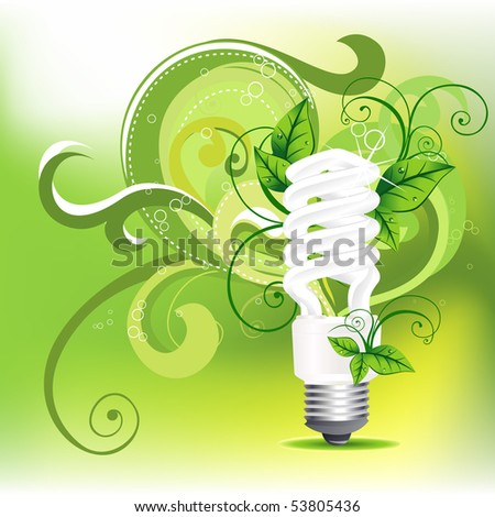 vector CFL design with leafs around it