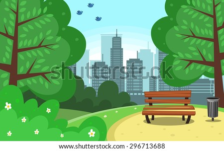 vector chair and trash can in green park with town building background and bird