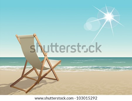 vector chair on a tropical beach