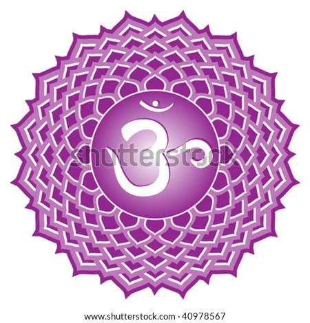 vector chakra series: sahasrara or crown chakra symbol