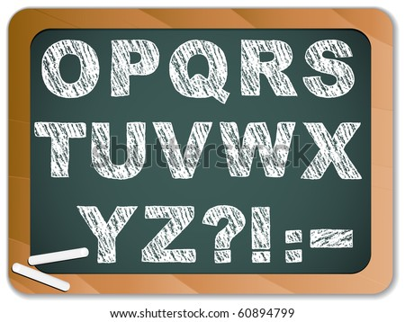 Vector - Chalk Alphabet on Blackboard