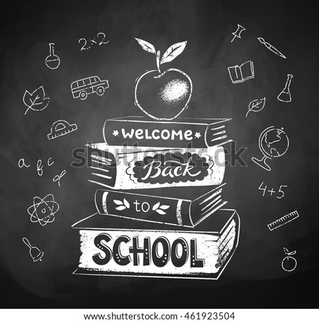 Vector chalk drawing of apple on stack of books with Welcome Back to School lettering.