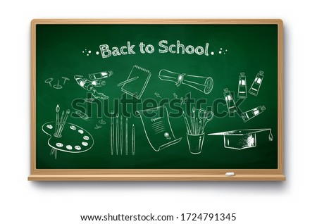 Vector chalk drawn illustration set of art education objects on green chalkboard with shadow isolated on white background.