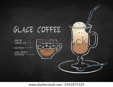 Vector chalk drawn infographic illustration of Glace coffee recipe on chalkboard background. Photo stock ©