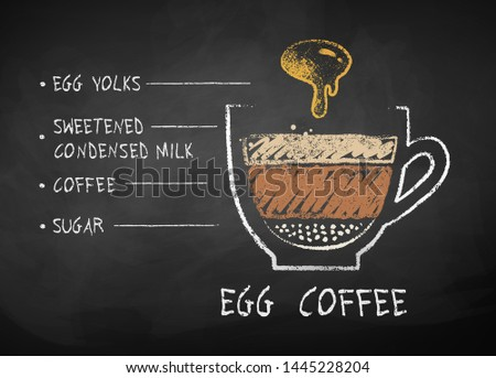 Vector chalk drawn sketch of Coffee with egg yolks recipe on chalkboard background.