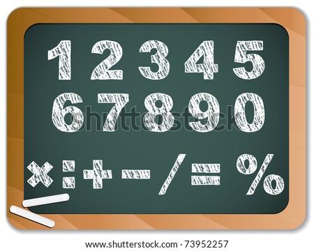 Vector - Chalk Numbers on Blackboard