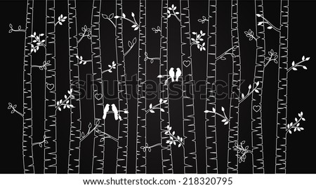vector chalkboard birch or