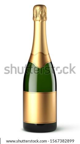 Vector champagne bottle on white background Stockfoto ©