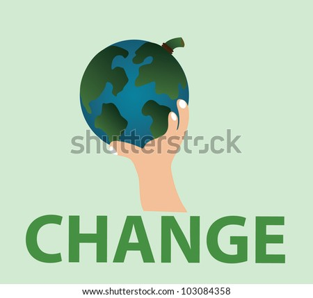 Vector - Change.Concept:Change the world with your hand.