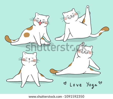 f469a164e115 Vector character design set funny cat playing yoga.Isolated on green.Draw  doodle style