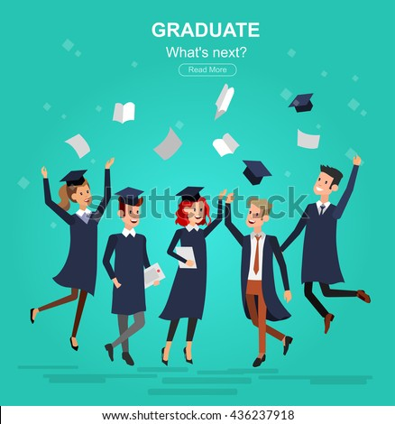 Vector character graduate and students, university graduation. University courses, online education, exam preparation, education banner, vector