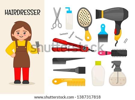 Vector character hairdresser. Illustrations of hairdresser equipment. Set of cartoon professions.