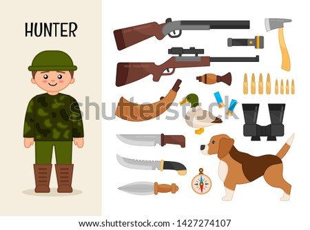 Vector character hunter. Illustrations of hunter equipment. Set of cartoon professions.