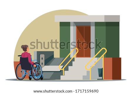 Vector character Illustration of disabilities people scene. Handicapped woman in wheelchair, access ramp in entrance of multi-storey house. Accessible environment, urban infrastructure concept  Stockfoto ©