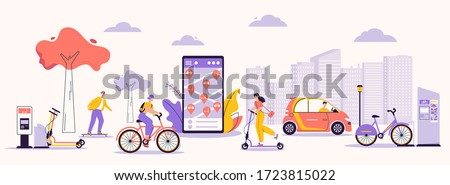 Vector character illustration of urban infrastructure and modern lifestyle. Man, woman using rental service: skateboard, kick scooter, bicycle, electric car. Mobile app for search, rent eco transport