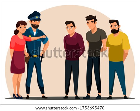 Vector character illustration wWThree men suspected of committing crime standing against wall. Policeman, woman affected by attack points to guy, identifies attacking criminal. Vector illustration Stock photo ©