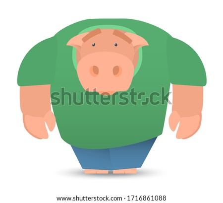 vector character male pig in a