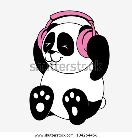 Vector character - Panda with headphones