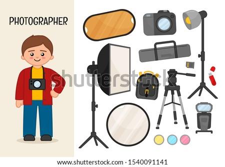 Vector character photographer. Illustrations of photographer equipment. Set of cartoon professions.