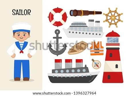 Vector character sailor. Illustrations of sailor equipment. Set of cartoon professions.