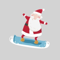 Vector character, Santa Claus on a snowboard on an isolated background.