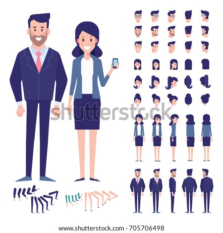 Vector character set for animation.Business people - man and woman. Front, side, back view animated characters.