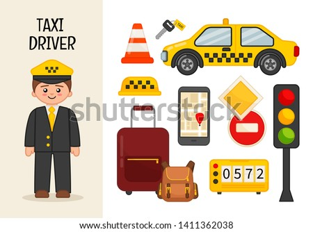 Vector character taxi driver. Illustrations of taxi driver equipment. Set of cartoon professions.