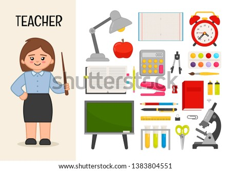 Vector character teacher. Illustrations of objects for the school. Set of cartoon professions.  Сток-фото ©