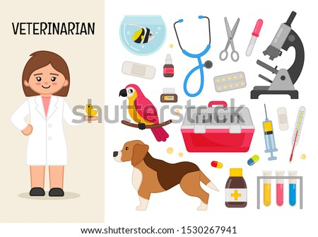 Vector character veterinarian. Illustrations of veterinarian equipment. Set of cartoon professions. Сток-фото ©