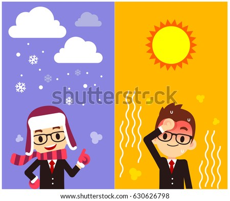 Vector Character, Weather Forecast Reporter with different weather, Symbol, Sign