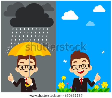 Shutterstock Vector Character, Weather Forecast Reporter with different weather, Symbol, Sign