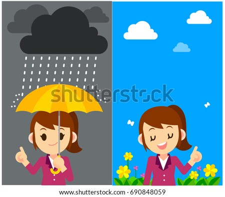 Vector Character, Weather Forecast Women Reporter with different weather, Symbol, Sign