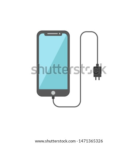 Vector charging smart phones, smart phones and chargers, flat style design concepts isolated white background