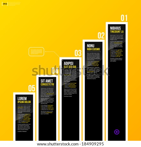 Vector chart template on bright yellow background in modern corporate style. EPS10