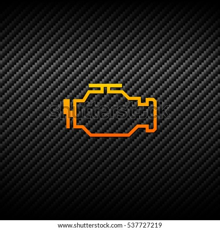 Vector check engine icon on carbon background