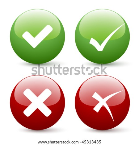 vector check mark buttons - stock vector