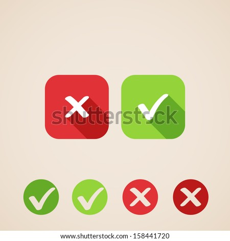 vector check mark icons. flat icons for web and mobile applications (flat design with long shadows)