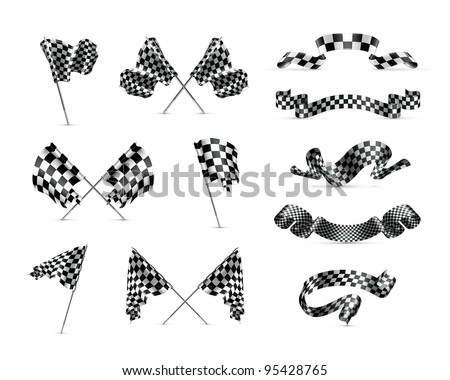 Vector Checkered flags, set
