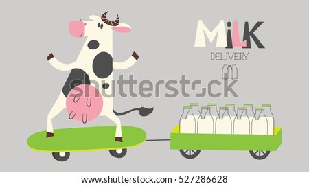 vector cheerful cow delivers